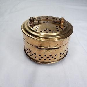 Vintage Brass Lidded Round Box Pierced